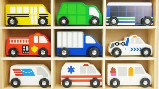 Wooden Cars Set Baby Toys with Car Transporter Toy Vehicles Racecars, Van, Police Car, Taxi
