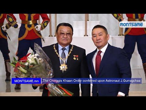 The Chinggis Khaan Order conferred upon Astronaut J.Gurragchaa