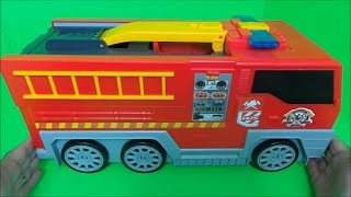 """TOYSRUS """"MICRO MACHINES"""" OPENING OUT FIRE TRUCK, FOLD OUT EMERGENCY CITY INSIDE PLAYSET UNBOXING"""
