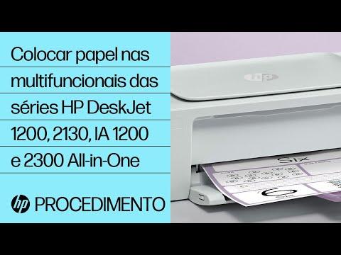 Colocar papel nas multifuncionais das séries HP DeskJet 1200, 2130, Ink Advantage 1200 e 2300 All-in-One