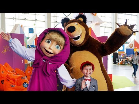 Hello Song / Masha And The Bear & Other Cartoon Characters Play With Funny Vlad At Indoor Playground
