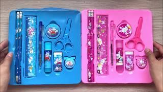 HỘP DỤNG CỤ HỌC TẬP 9 MÓN HELLO KITTY Có Bút, Thước, Gôm... Pencil Box (Chim Xinh)