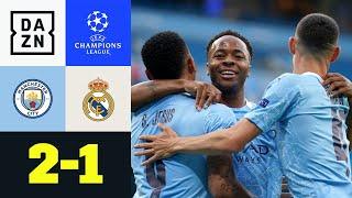 Manchester City empfängt zum Achtelfinal-Rückspiel Real Madrid. Das Hinspiel in der spanischen Hauptstadt gewannen die Citizens mit 2:1. Auch im heimischen Stadion legen die Skyblues druckvoll los und gehen vor allem dank eines Patzers von Varane, der sich den Ball von Gabriel Jesus abnehmen ließ und Raheem Sterling bediente, bereits in der 9. Minute in Führung. Die Königlichen schalten einen Gang nach oben und erzielen in der 28. Minute durch Benzema den Ausgleich. In der zweiten Hälfte ist es wieder Varane, der den Ball vor Gabriel Jesus' Füße spielt. Der nimmt dankend an und stellt auf 2:1.Bei diesem Ergebnis bleibt es dann auch und die Citizens jubeln über den Einzug ins Viertelfinale.  ►Sichere dir deinen Gratismonat: http://bit.ly/DAZNerleben ►Alle Infos zur UEFA Champions League: https://bit.ly/2GD8lqf ►Das Programm von DAZN: http://bit.ly/2uFkulD ►DAZN auch auf Facebook: https://bit.ly/2lUGipo  +++ Die besten Fußball Highlights aus allen Wettbewerben auf YouTube +++ ►DAZN UEFA Champions League auf YouTube abonnieren: https://bit.ly/2WL75qD  ►DAZN UEFA Europa League auf YouTube abonnieren: https://bit.ly/2DTc8yb  ►DAZN Bundesliga auf YouTube abonnieren: https://bit.ly/2Daw8dS  ►DAZN Länderspiele auf YouTube abonnieren: https://bit.ly/2XAYNSd ►Goal auf YouTube abonnieren: https://bit.ly/2Bk4H0Y   +++ Die besten Sport Highlights auf YouTube +++ ►DAZN Tennis auf YouTube abonnieren: https://bit.ly/2DblEuK  ►DAZN Darts auf YouTube abonnieren: https://bit.ly/2ScVbqU    ►SPOX auf YouTube abonnieren: https://bit.ly/2MPaQqI   Erlebe tausende Sportevents in HD-Qualität auf allen Geräten. Auf DAZN gibt's europäischen Top-Fußball mit UEFA Champions League, UEFA Europa League, Premier League, Bundesliga-Highlights, La Liga, der Serie A und Ligue 1 sowie den besten US-Sport aus NFL, NBA, MLB und NHL. Dazu: Fight Sports, Darts, Tennis, Hockey und vieles mehr - wann und wo du willst.   ERLEBE DEINEN SPORT LIVE UND AUF ABRUF. AUF ALLEN GERÄTEN.   +++ Über DAZN +++   DAZN ist 