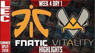 FNC vs VIT Highlights | LEC Summer 2019 Week 4 Day 1 | Fnatic vs Vitality