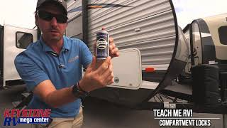 TEACH ME RV! How to free up stuck compartment locks from Keystone RV Center.