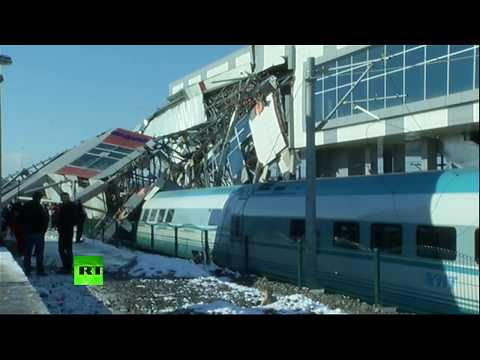 Aftermath of deadly train crash in Turkey (Streamed live)