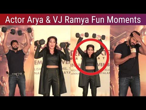 Actor Arya & VJ Ramya fun moments at Terminator Tamil Trailer Launch