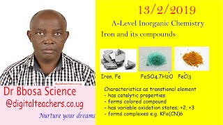 Transition elements Iron By Dr Bbosa Science