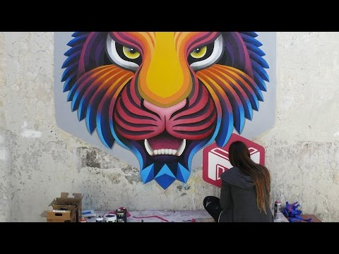 graffiti street art 3d mural tiger by