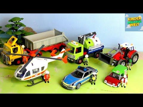 Traktor, Polizeiauto, Truck, Rettungs Helikopter / Spielzeugautos - Vehicles for Kids