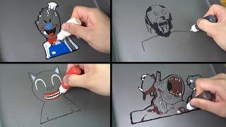 Scary Pancake Art - Granny, Ice Scream, Cartoon Cat, Siren head