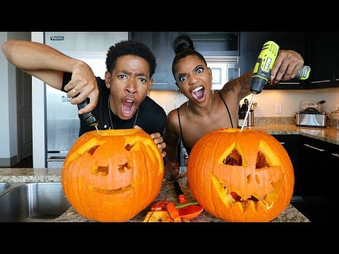 INSANE BF VS. GF PUMPKIN CARVING CHALLENGE!!!!