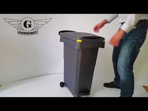 Kunststoff grau Treteimer, Tretabfallsammler, Tretabfallbehälter, Tretabfalleimer, Tretmülleimer
