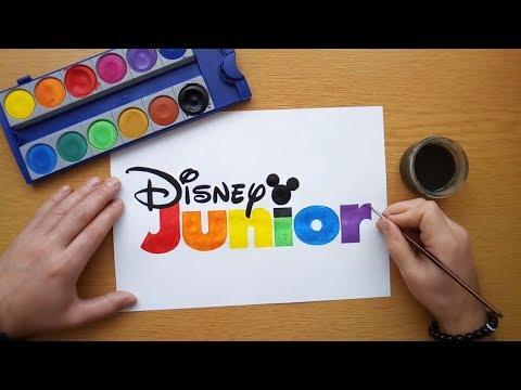 How to draw a colorful Disney Junior logo