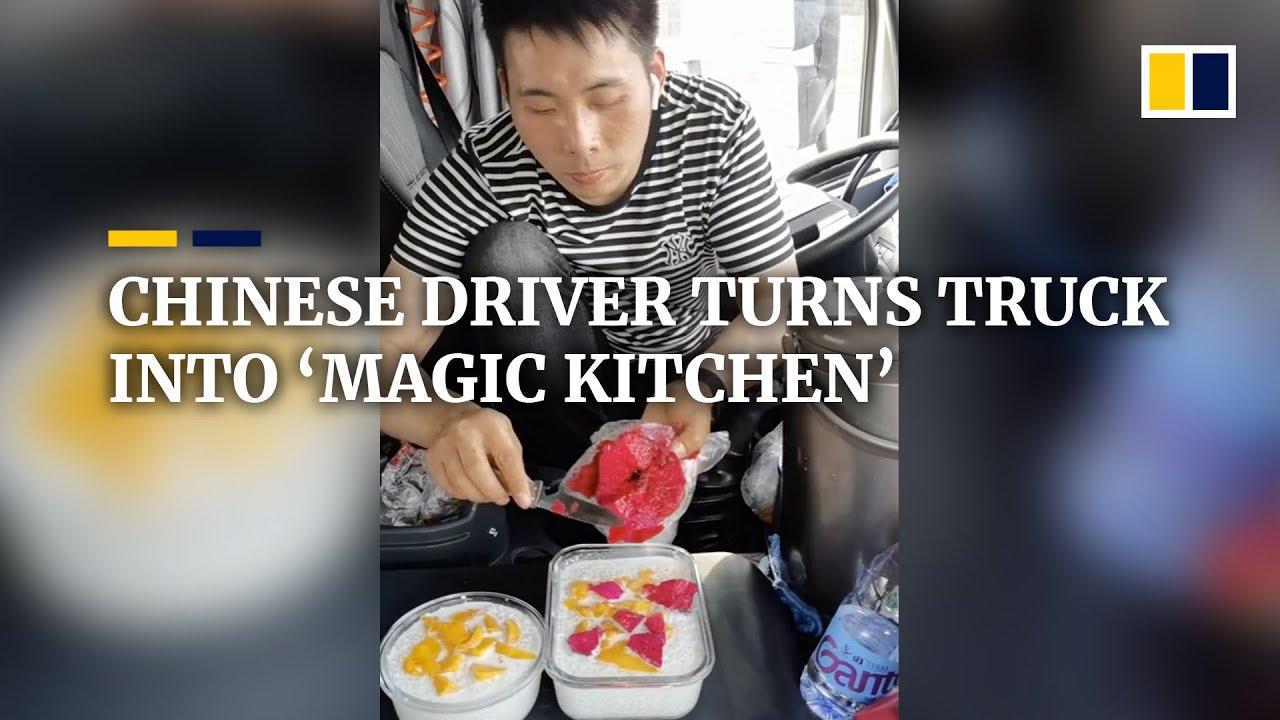 Ar gyvenimas kelyje reiškia, kad negalima gerai pavalgyti? Vairuotojas-gurmanas iš Kinijos parodė, kiek patiekalų galima paruošti kabinoje