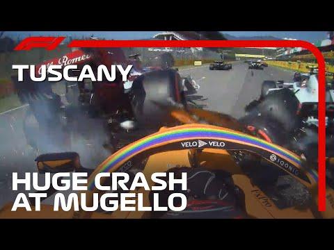F1 トスカーナGPで起きた大クラッシュ映像。F1マシンが多重クラッシュしてしまう恐ろしいクラッシュ映像