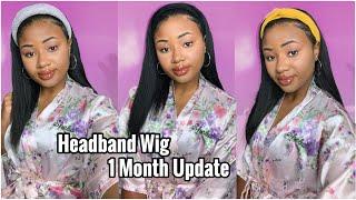 Worth The Hype??🤔 Throw On & Go Beginner Friendly Headband Wig 1 Month Update   Myfirstwig