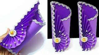 Flower vase with paper at home | paper Flower vase making idea