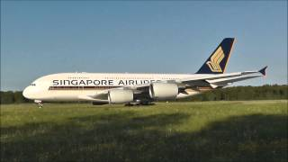 preview picture of video 'Singapore Airlines (Flug SQ346) A380 landet in Zürich'