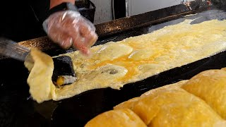 red sauce egg rolls gimbap omelet (떡볶이 소스! 계란말이 김밥 3,000KRW) korean street food / 인천 구월동 까치네