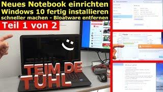 Neues Notebook einrichten - Teil 1 - Windows 10 fertig installieren und schneller machen - [4K]