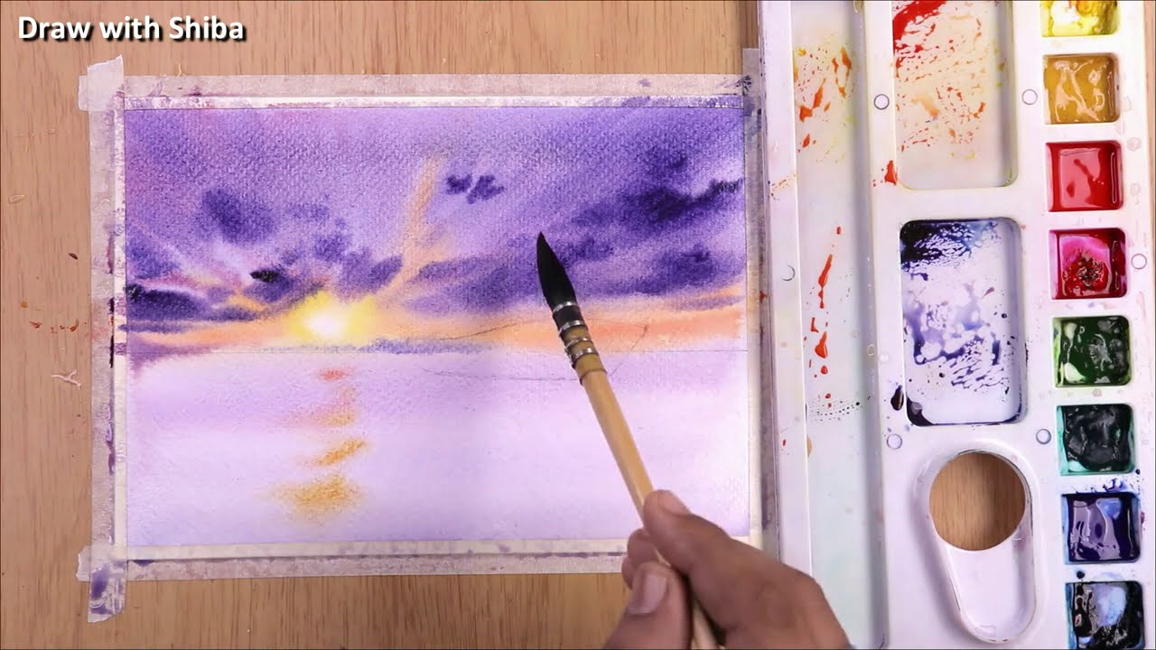 watercolor painting of sea side sunset with ship by shiba