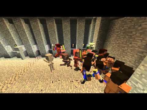 Minecraft, бой рыцари против нежити