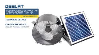 Solar Powered Exhaust Fan and Ventilator - 15W - Adjustable - 12