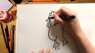 Como desenhar uma galinha - desenhos para crianças