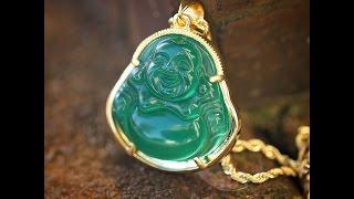 Mens Wholesale Hip Hop Jewelry Green Jade Buddha Necklace