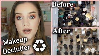 MAKEUP DECLUTTER & ORGANIZATION | Too Many Foundations + Blush Bronzers & Highlighters