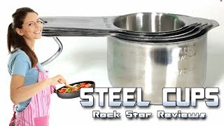 Stainless Steel Metal Measuring Cups and Spoons by Cooking Gods with Bonus Magnetic Chart