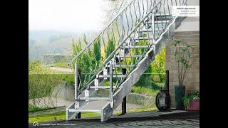 Montage Außentreppe Innotec, beidseitiges Geländer