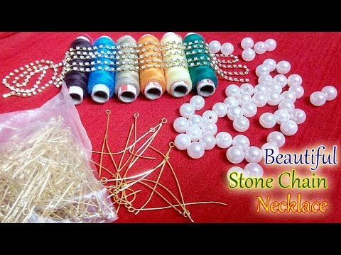How To Make Silk Thread Necklace Using Stone Chain, Eye pins & Pearls Bead | Pearl Necklace At Home