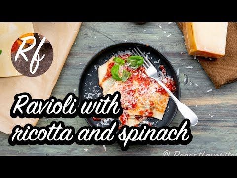 How to make your own homemade pasta ravioli filled with ricotta cheese, spinach, parsley, parmesan, nutmeg and lemon served with a tomatosauce. >