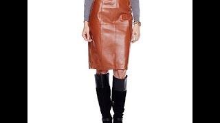 Hal Rubenstein Donna Leather Pencil Skirt