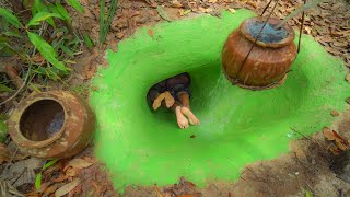 Building The Most Secret Temple Underground House With Water Slide To Underground Swimming Pools