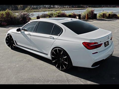 "BMW 750i ON 24"" Lexani Wheels CSS-15 Black and Machine Tips"