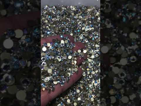 Blue Moonlight Effects Glass FlatBack Rhinestones, Nail Crystals