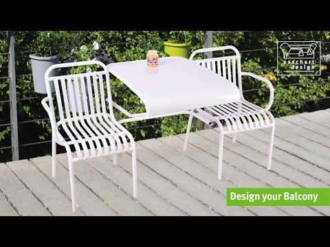 Metall Gartenbank 3 Sitzer weiss von Esschert Design
