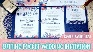 How To Cut Intricate Wedding Invitation Pocket Using Cricut | Craft With Love