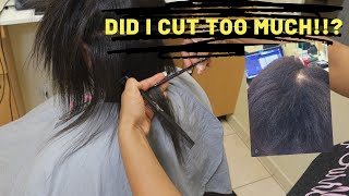 HOW TO DO A Silk Press on damaged transitioning hair! Omg did I cut too much???