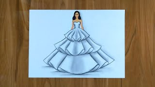 Simple Dresses Drawings Step By Step  / Fashion Illustration Drawing / Fashion Design Illustration