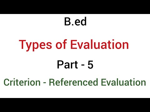 Part - 5 criterion referenced evaluation | types of evaluation | b.ed