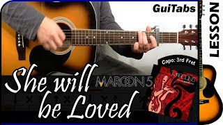 How to play She Will Be Loved 🙍 - Maroon 5 / Guitar Tutorial 🎸