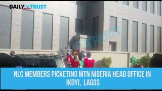 NLC pickets MTN offices, destroys gate in Lagos headoffice (VIDEO)