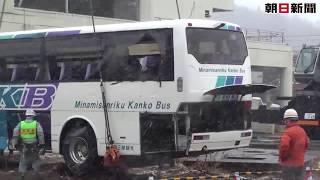屋上のバス撤去観光の「足」復活誓う宮城・石巻