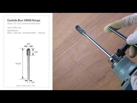 FindBuyTool Carbide Burr Burr SC-3L4 Neña de bola cilindrá omni Cabeza de rango D 3/8 x 3 / 4L, 1/4 Shank, 4-1 / 3 pulgadas de longitud completa