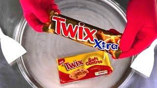 TWIX Ice Cream Rolls   TWIX Soft Centres Cookies roll fried Caramel Ice Cream - satisfying Food ASMR