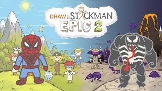 DRAW A STICKMAN: EPIC 2 Gameplay - Marvel Super Heroes Tiny Spiderman vs Dark Venom - Crazy Ending
